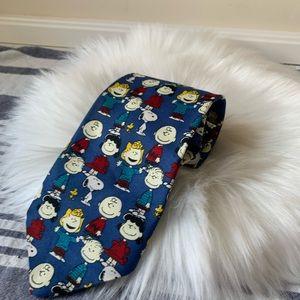 Blue Peanuts men's tie